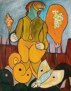 "FRANCISCO MATEOS GONZÁLEZ (Seville, 1894 - Madrid, 1976). ""The larvae"", 1973. Oil on canvas."