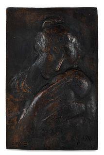 "PABLO GARGALLO CATALÁN (Maella, Zaragoza, 1881 - Reus, Tarragona, 1934). ""Maternity"", 1916 Relief in bronze, copy XIV/XXXV. Signed, dated and justifie"