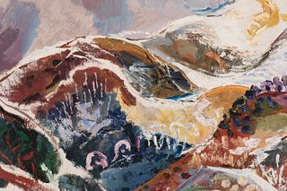 """MENCHU GAL (Irun, 1918 - 2008). """"Snowy landscape"""". Oil on panel. Presents label of the Biosca Gallery (Madrid). Work exhibited at the IVAM Exhibition."""