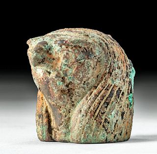 Egyptian Bronze Falcon Head Finial of Ra