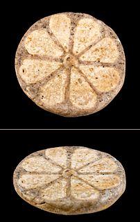 Egyptian New Kingdom Glazed Faience Rosette Tile