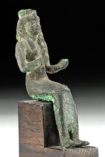 Egyptian 25th Dynasty Gilded Bronze Seated Isis