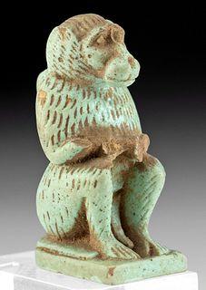 Egyptian Glazed Faience Baboon Pendant of Thoth