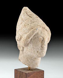 Rare Cypriot Limestone Votive Head
