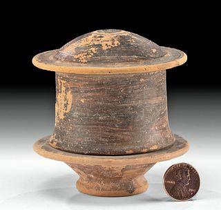 Campanian Hellenistic Pottery Lidded Pyxis