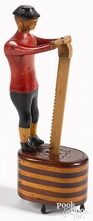 Unusual carved and painted figure of a gentleman