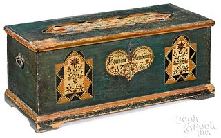 Lancaster County, Pa. painted pine dower chest