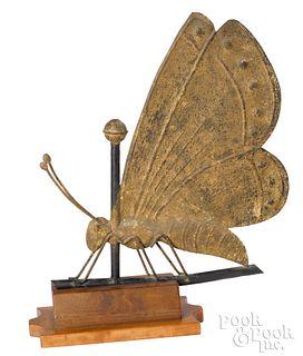 Rare copper butterfly weathervane, 19th c.