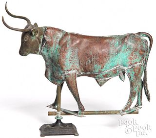 Full bodied copper steer weathervane, 20th c.
