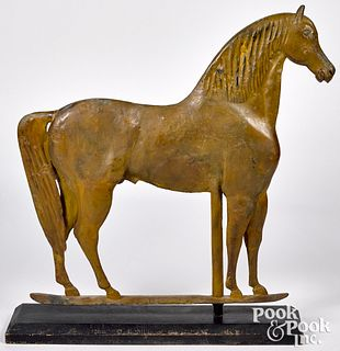 Large molded copper standing horse weathervane