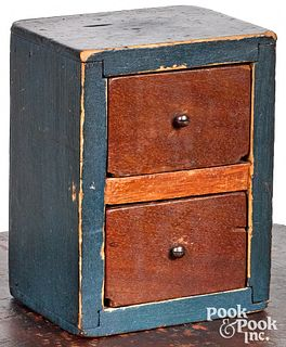 Miniature painted pine two-drawer sewing box