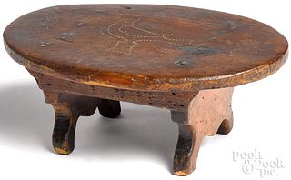 Pennsylvania punch decorated pine foot stool