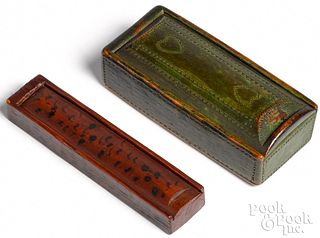 Two Pennsylvania painted slide lid boxes, 19th c.