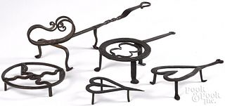 Five pieces of early American wrought iron