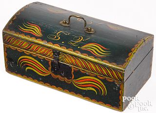 Vibrant New England painted pine dome top box