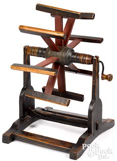 Painted hand crank table top yarn winder, 19th c.