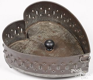 Pennsylvania punched tin heart cheese strainer