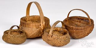 Four small finely woven baskets, 19th c.