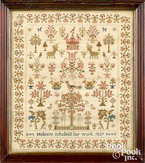 English silk on linen sampler dated 1829