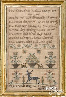 Silk on linen sampler, dated 1836