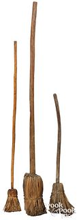 Three early hearth brooms, early 19th c.