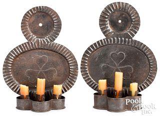 Pair of tin sconces, 19th c.