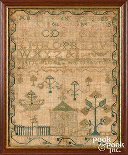 Harrisburg, Pennsylvania silk on linen sampler