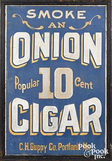 Painted tin Onion Cigar trade sign, early 20th c.