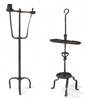 Two adjustable wrought iron candlestands, 19th c.