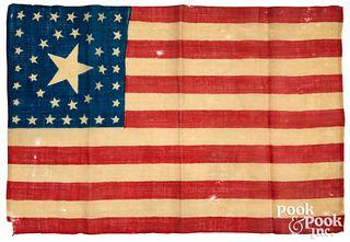 Thirty-eight star American parade flag, ca. 1876