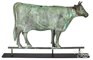 Swell bodied copper cow weathervane, 19th c.