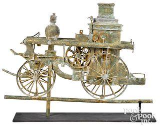 Copper fire pumper weathervane, early 20th c.