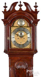 Massachusetts Chippendale mahogany tall case clock