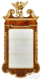 Walnut veneer Constitution mirror, ca. 1800