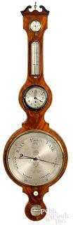 Large English mahogany banjo clock and barometer