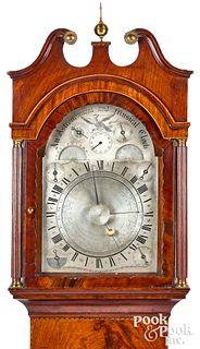Rare English mahogany tall case clock, ca. 1810