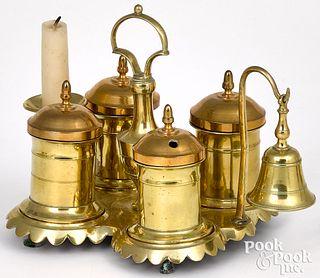English brass standish, 19th c.
