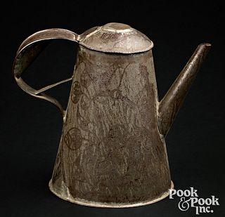 Pennsylvania wrigglework coffee pot, 19th c.