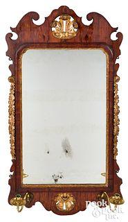 Chippendale walnut veneer looking glass, ca. 1765