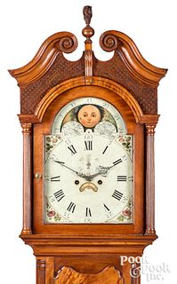 New Jersey Chippendale mahogany tall case clock