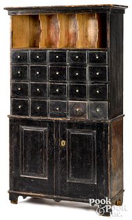 New England painted pine apothecary cupboard