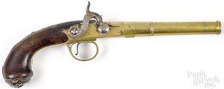 English brass barrel percussion pistol, 19th c.