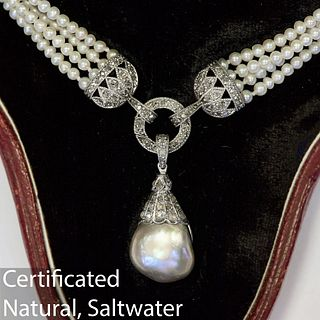 IMPORTANT NATURAL SALTWATER PEARL DROP NECKLACE