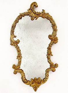 19th C. Rococo Hand Carved Floral Gilt Frame Mirror