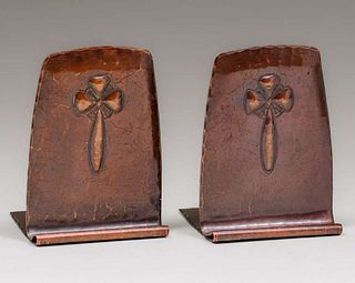 Small Roycroft Hammered Copper Bookends c1920s