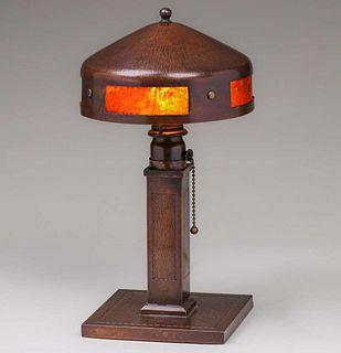 Roycroft Hammered Copper & Mica Helmet Lamp c1920