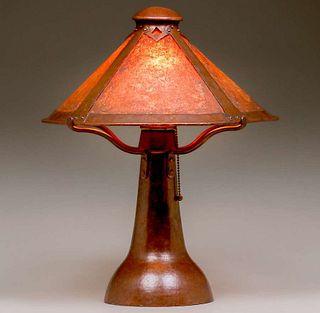 Dirk van Erp - D'Arcy Gaw Hammered Copper & Mica Lamp c1910