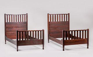 Pair Roycroft Twin Mahogany Beds c1905