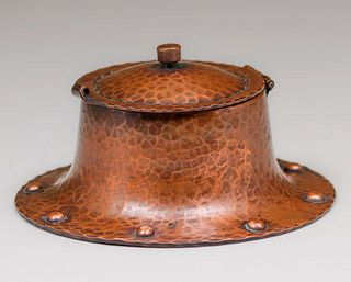 Roycroft Hammered Copper Round Rivetbase Inkwell c1920s