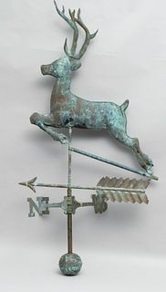 Leaping Stag Weathervane in Copper